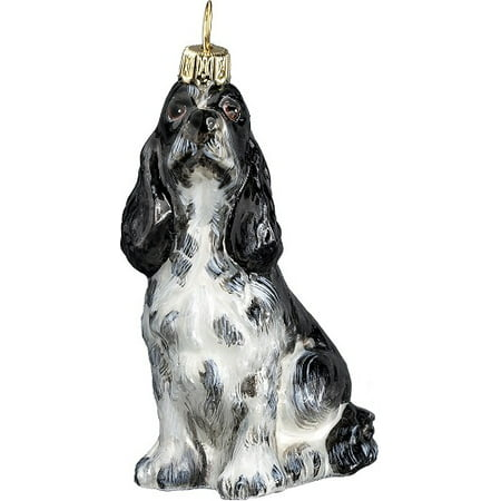 Black And White Christmas (Black and White Springer Spaniel Dog Sitting Polish Glass Christmas)