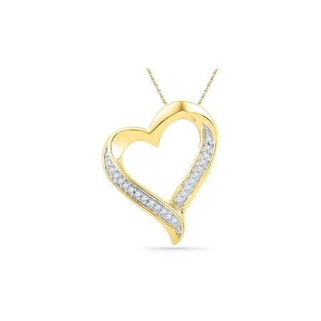Heart Pendant Necklace in 10K Yellow Gold with Accent Diamonds 1/10 Carat (ctw) - image 1 of 1