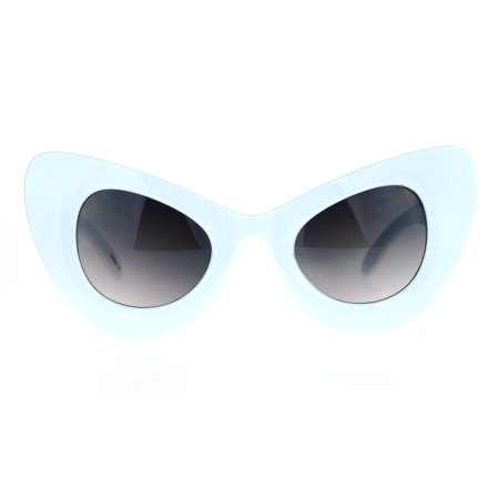 SA106 Oversize Thick Plastic Comic Stylized Cat Eye Sunglasses (White Tortoise Sunglasses)
