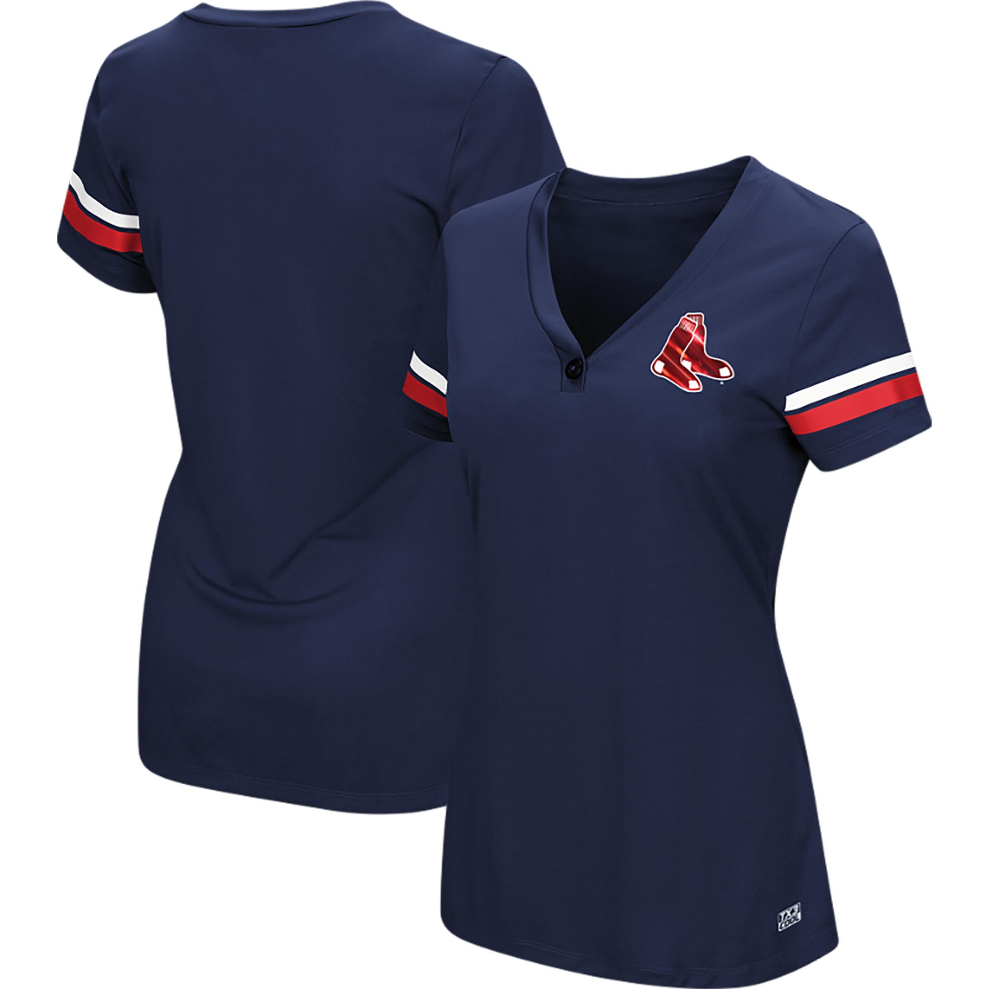 Women's Majestic Navy Boston Red Sox Plus Size Sparkling Fun Button V-Neck T-Shirt