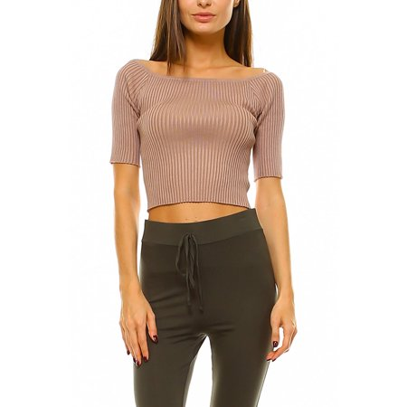 81a603dd91d Womens Off Shoulder Solid Ribbed Knit Tight Stretchy 1 3 Sleeves Crop Top  T2277