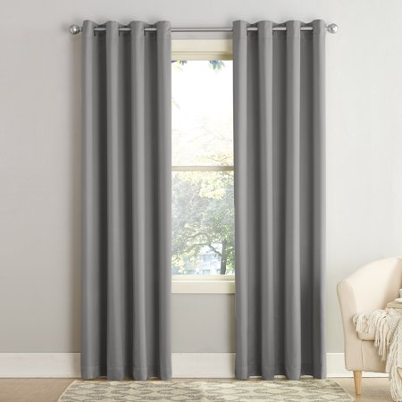 "63""x54"" Seymour Energy Efficient Grommet Room Darkening Curtain Panel Gray - Sun Zero"