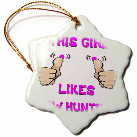3dRose This Girl Likes Bow Hunting, Snowflake Ornament, Porcelain, 3-inch thumbnail