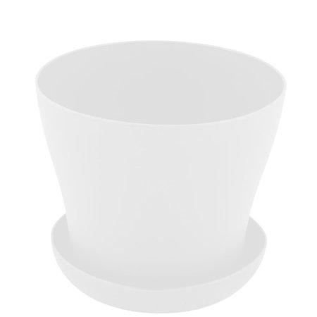 Balcony Windowsill Plastic Round Succulent Plant Holder Flower Pot Tray White ()