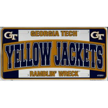 Georgia Tech Yellow Jackets Ramblin Wreck Metal License Plate