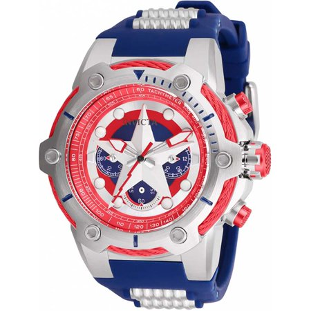 Invicta Men Marvel Quartz Chrono 100m Stainless Steel/Blue Silicone Watch 26894