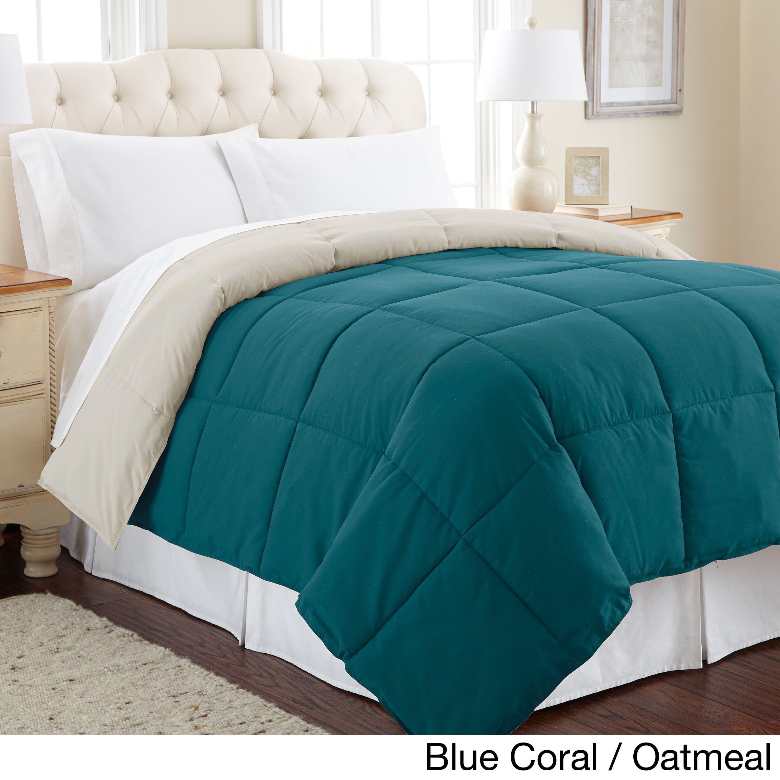All Season Reversible Down Alternative Microfiber Comforter Blue Coral/Oatmeal - Queen
