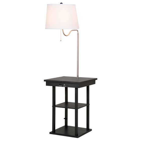 Gymax Floor Lamp Swing Arm Lamp Built In End Table w/ Shade 2 USB ...