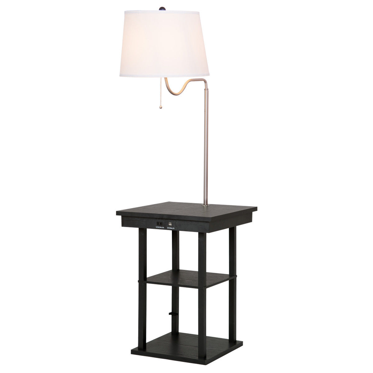 Gymax Floor Lamp Swing Arm Lamp Built In End Table W/ Shade 2 USB Ports