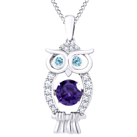 - Dancing Round Cut Simulated Amethyst, Aquamarine With White Sapphire Owl Pendant Necklace In 14K White Gold Over Sterling Silver