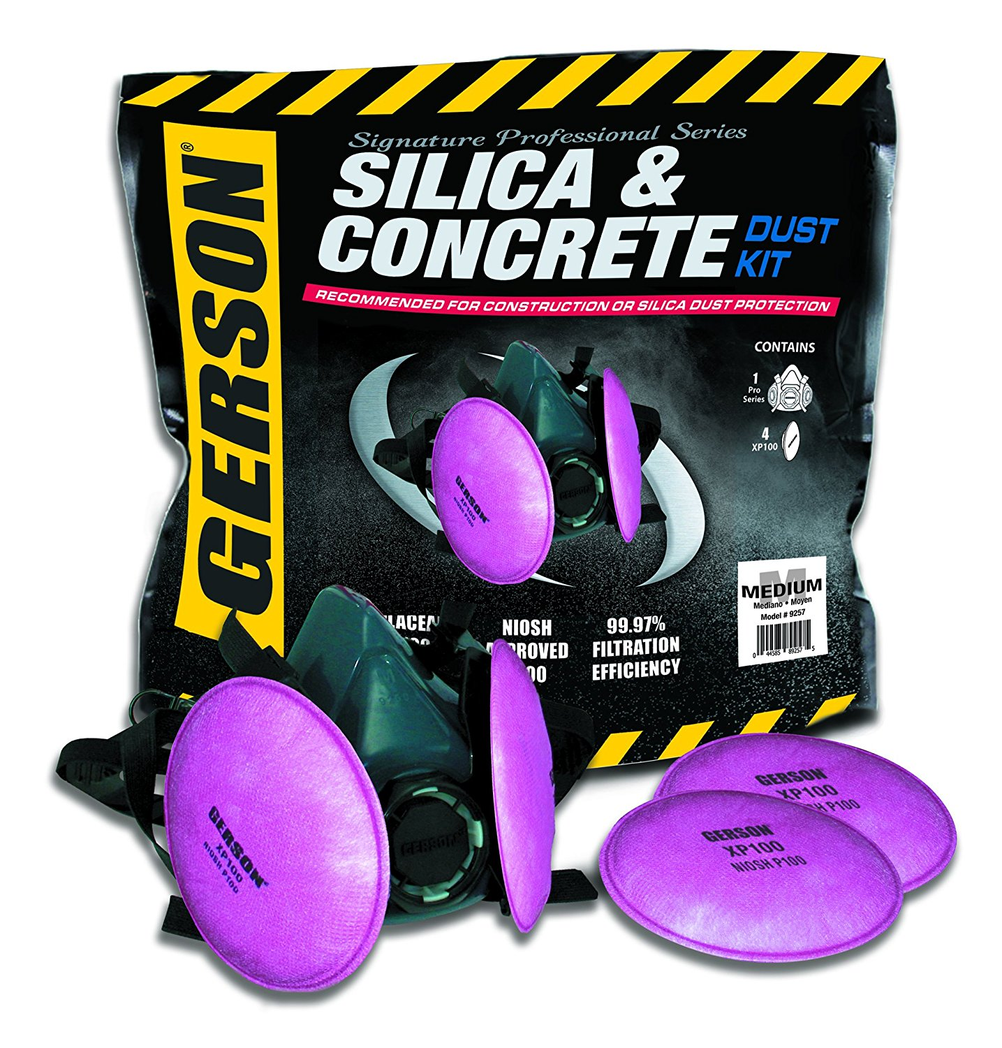 Gerson 9257 Silica & Concrete Dust Respirator Kit with Pancake Filters (Medium) by Gerson