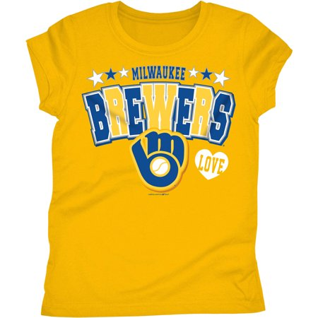 MLB Milwaukee Brewers Girls Short Sleeve Team Color Graphic Tee](Milwaukee Brewers Baseball)