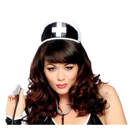 Adult Black Nurse Hat with Cross](Nurses Hat)
