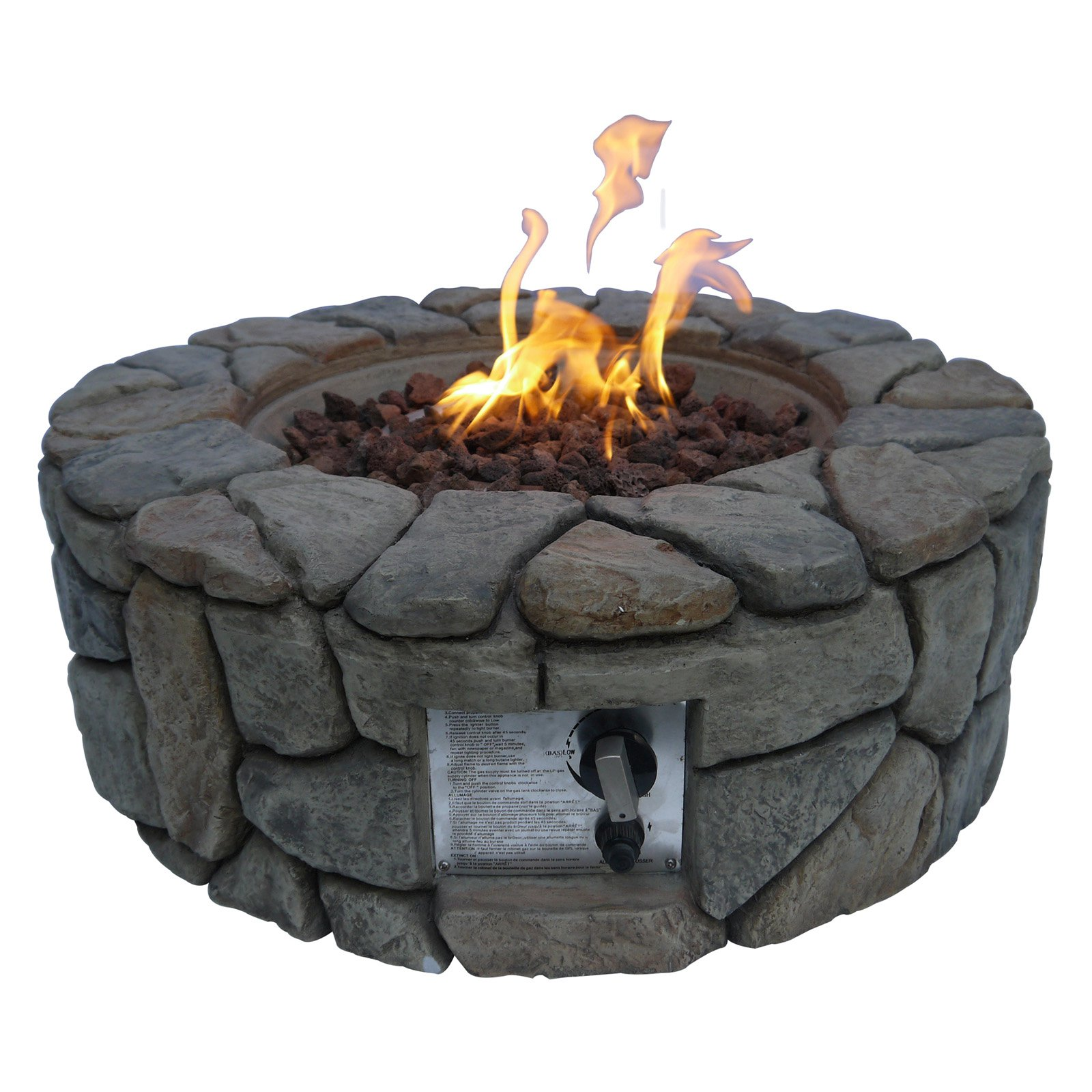 Peaktop Outdoor Stone Propane Gas Firepit by Teamson Design
