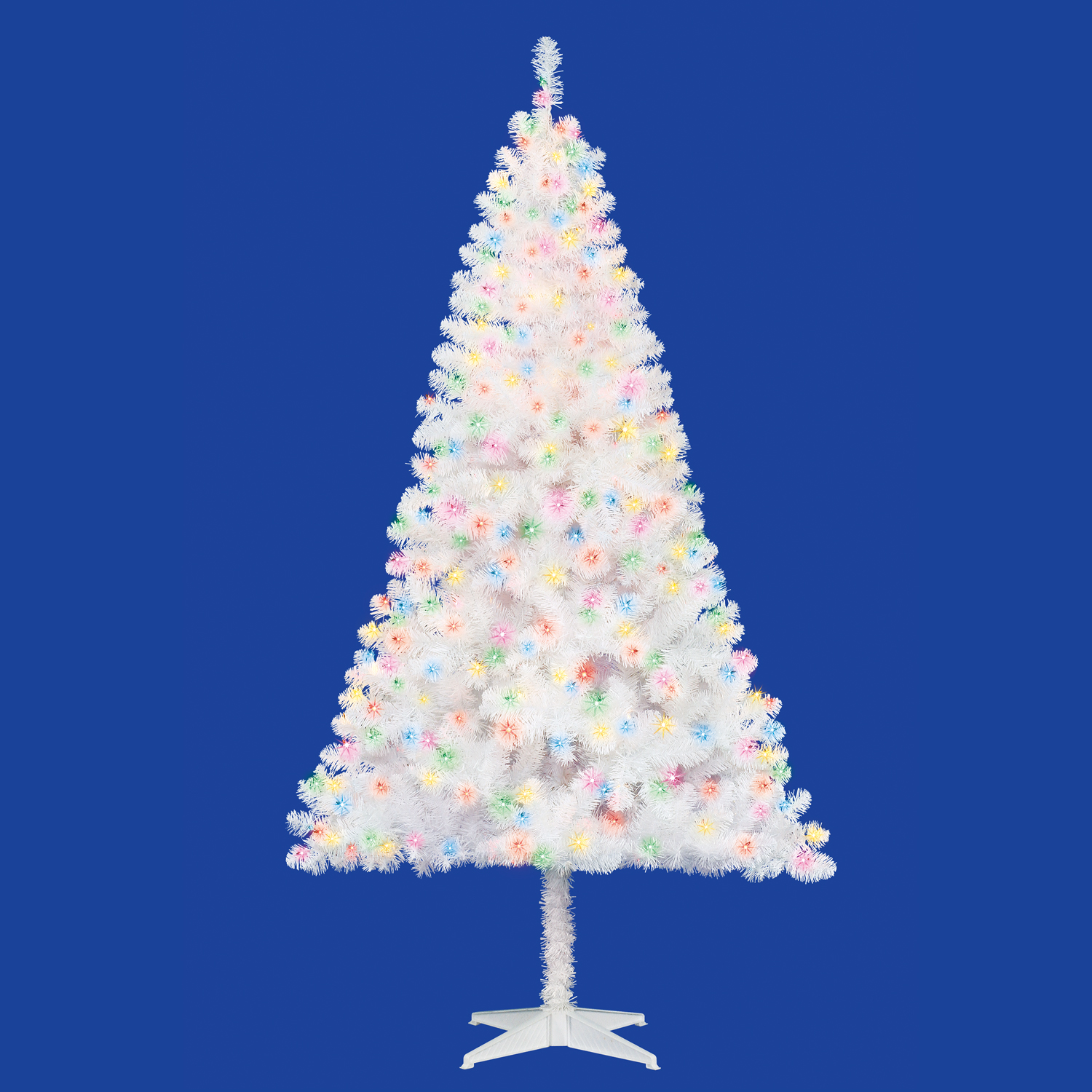 Holiday Time 6.5ft Pre-Lit Madison Pine Artificial Christmas Tree with 350 Multicolored Lights - White