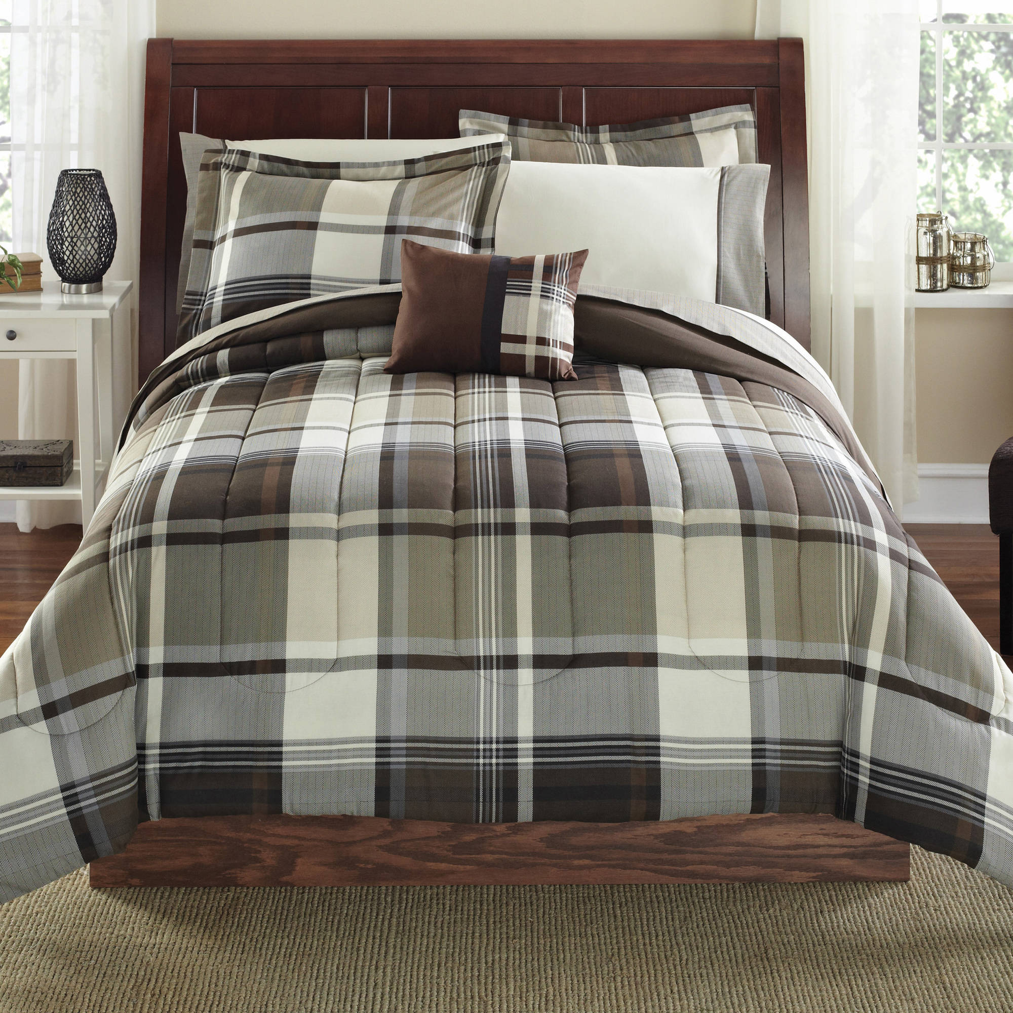 Mainstays 8 Piece Bed-in-a-Bag Bedding Comforter Set, Brown Plaid, Multiple Sizes