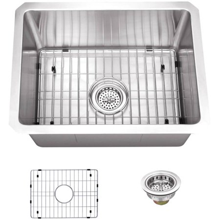 Magnus Sinks 15-in x 20-in 16 Gauge Stainless Steel Single Bowl Bar and Prep Sink with Grid Set and Drain Assembly ()