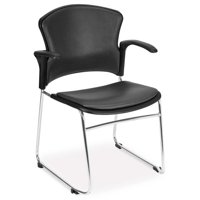 OFM Model 310-VAM-A Multi-Use Stack Chair with Arms, Anti-Microbial/Anti-Bacterial Vinyl Seat and Back, Charcoal