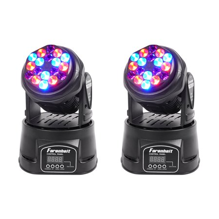 - (2) FARENHEIT FH318MH Compact RGB DMX Moving Heads Beam Club Stage Party Lights