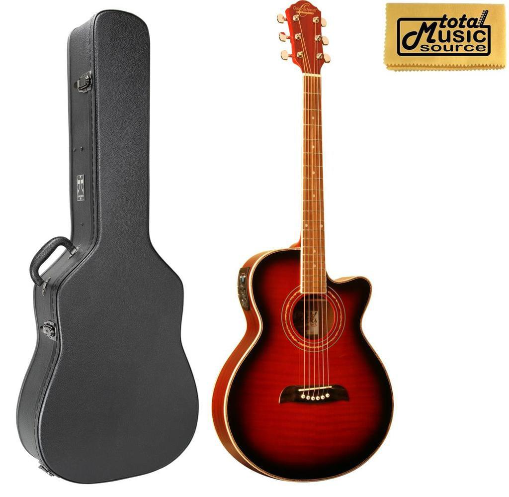 Oscar Schmidt A E Concert Folk Guitar, Trans FLame Red, OG10CEFTR, W Case, OG10CEFTR CASE by Oscar Schmidt