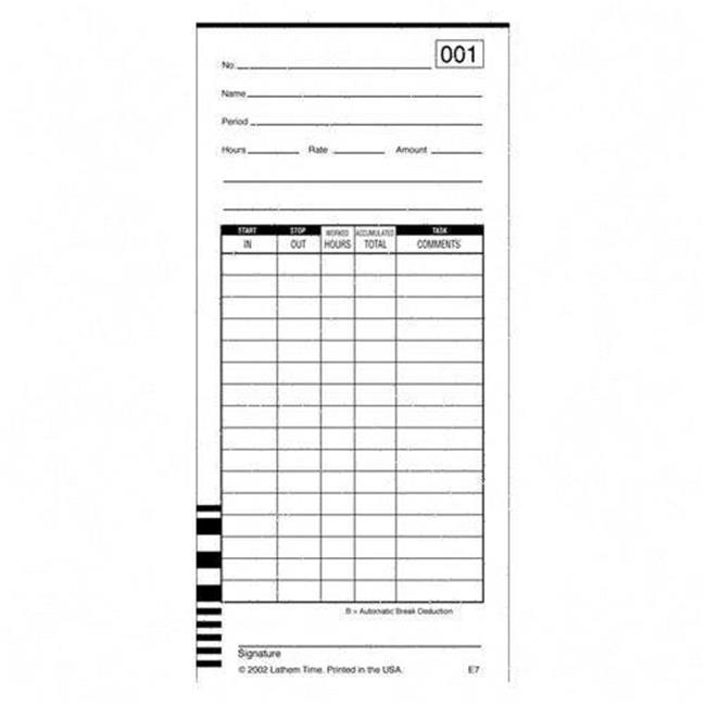 Lathem - Timecards (Box of 1000) E7