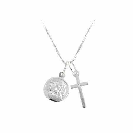Sterling Silver Cross & Angel Charm Talisman Amulet Pendant