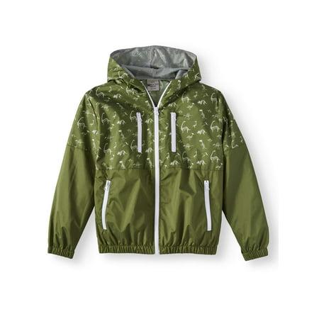 Bocini Zip Up Hooded Wind Breaker with Color Block Prints (Big Boys) Zip Wind Rain Jacket