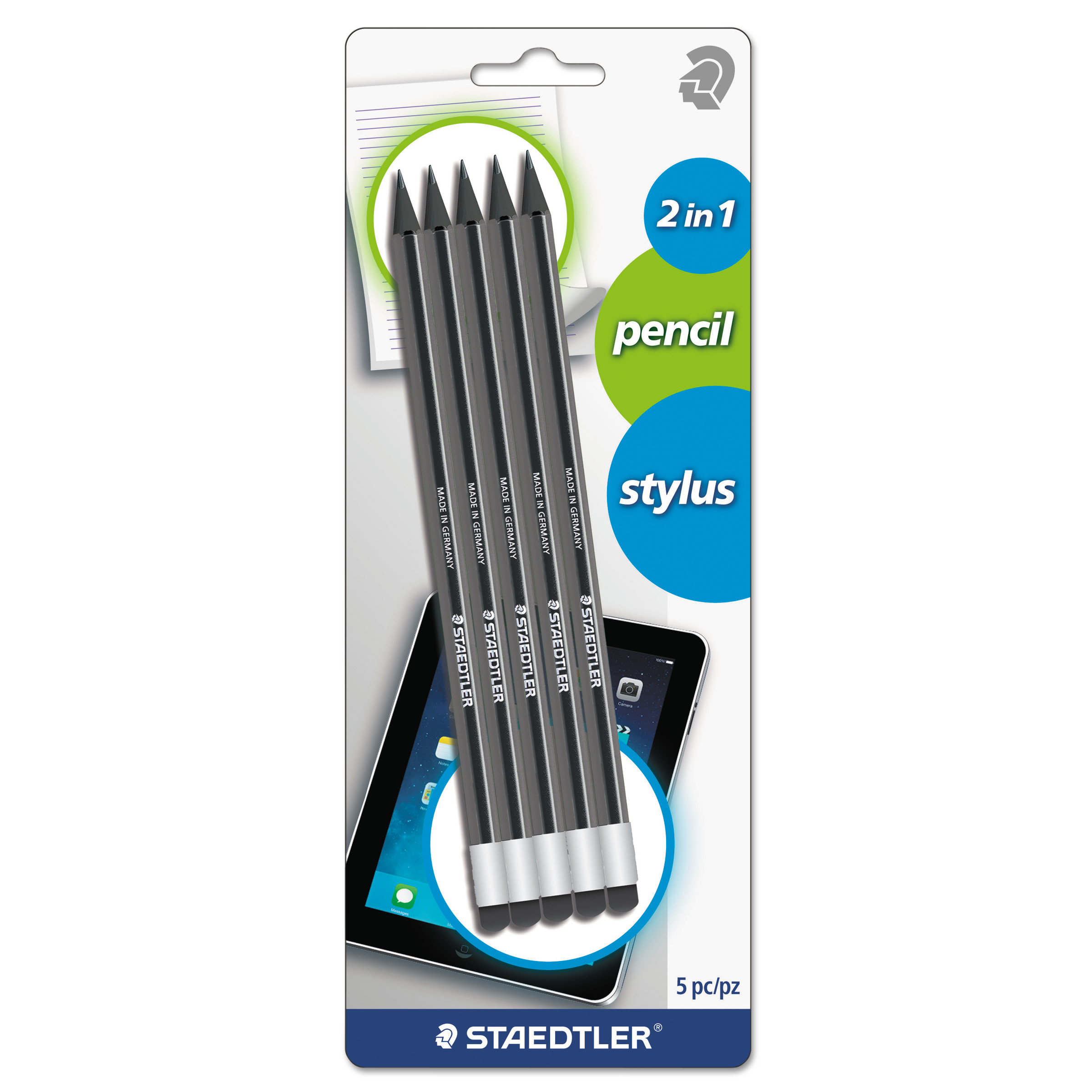 Staedtler Wopex Pencil with Stylus, Green/Black, 5/Pack -STD182SBK5