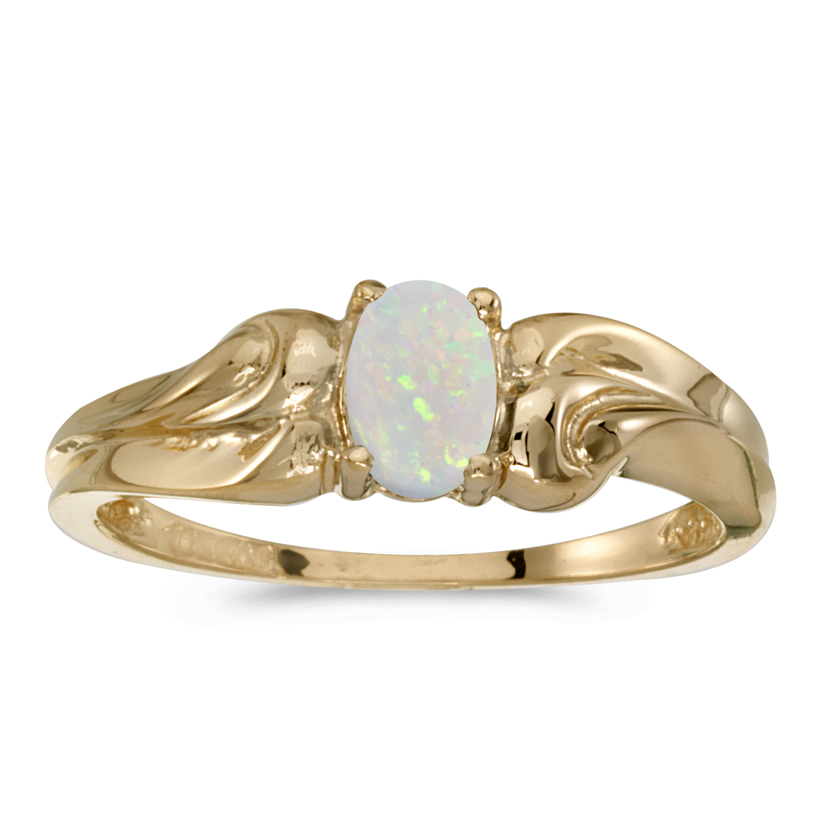 14k Yellow Gold Oval Opal Ring by