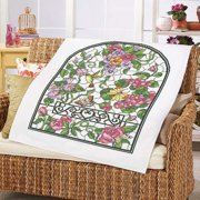 Herrschners Summer Stained Glass Lap Quilt Top Stamped Cross-Stitch Kit
