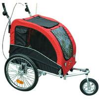 Elite II Pet Dog Bike Bicycle Trailer Stroller Jogger w/ Suspension - Red
