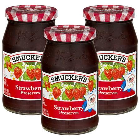 - (3 Pack) Smucker's Strawberry Preserves, 18 oz