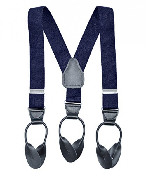 Children Boys Kids Adults Suspenders Navy blue, 27 inch Sturdy Metal Clips Genuine Leather Suspender 3 Years - 9 Years