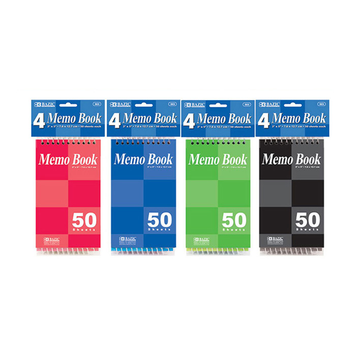 "BAZIC 50 Ct. 3"" X 5"" Top Bound Spiral Memo Books (4/Pack), Box of 24"