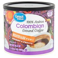 Great Value 100% Arabica Colombian Medium Dark Ground Coffee, 24.2 oz