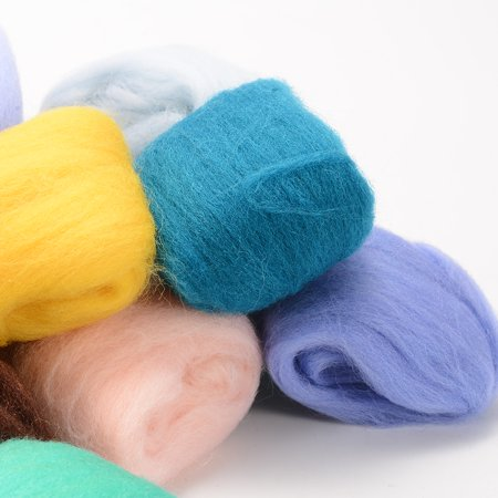 36 Colors Wool Yarn Roving, Fibre Hand Spinning DIY Craft for Needle Felting with 1 Set Needle Felting Kit Wool Felt - Top Spinning Fiber Roving Felt