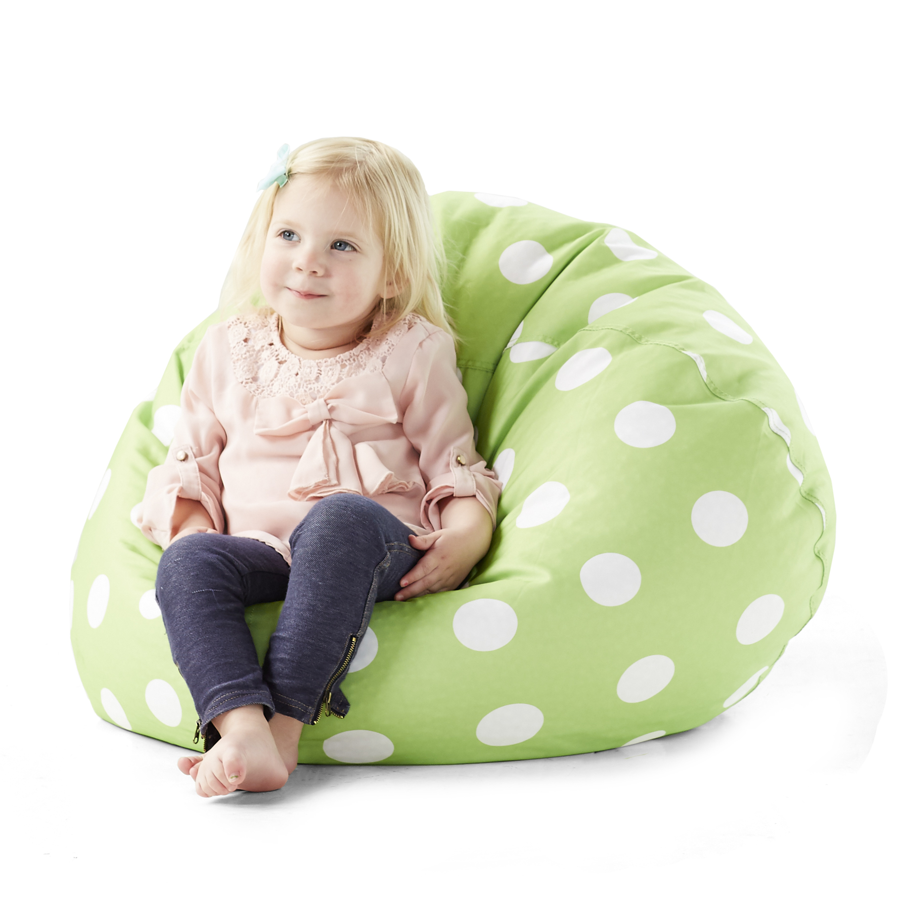 Big Joe Classic 88 Bean Bag Chair, Chartreuse Polka Dot