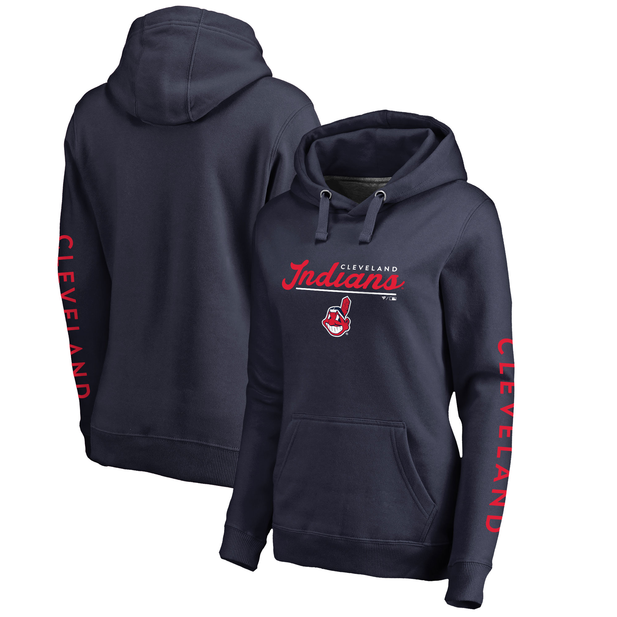 Cleveland Indians Fanatics Branded Women's High Class Pullover Hoodie - Navy