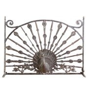 Cast Aluminum Peacock Single Panel Fireplace Screen