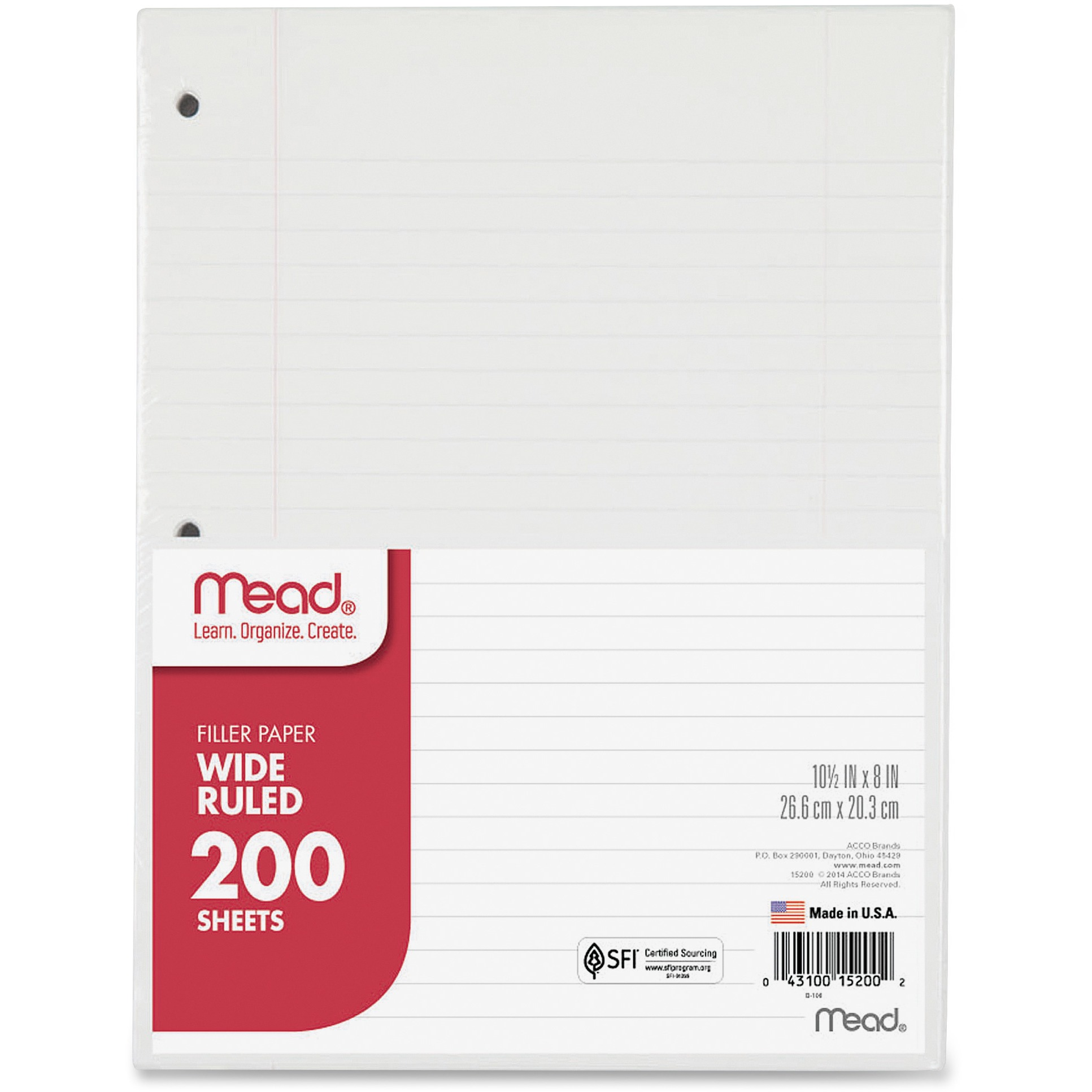 Mead 3-Hole Punched Wide-ruled Filler Paper, 1 / Pack (Quantity)