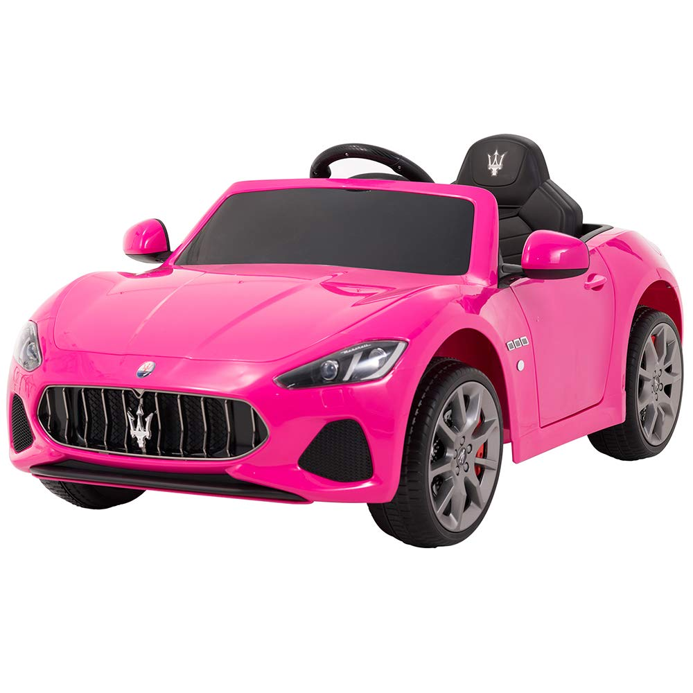 Uenjoy Maserati Ride on Cars 12V Battery Motorized Vehicles Electric kids Car W/ Remote Control, Suspension, Mp3 Player, Lights Pink