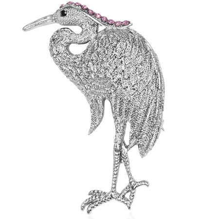 Fashion Alloy Flamingo Silver-Tone Black Pink Cubic Zirconia Brooch by My Daily Styles