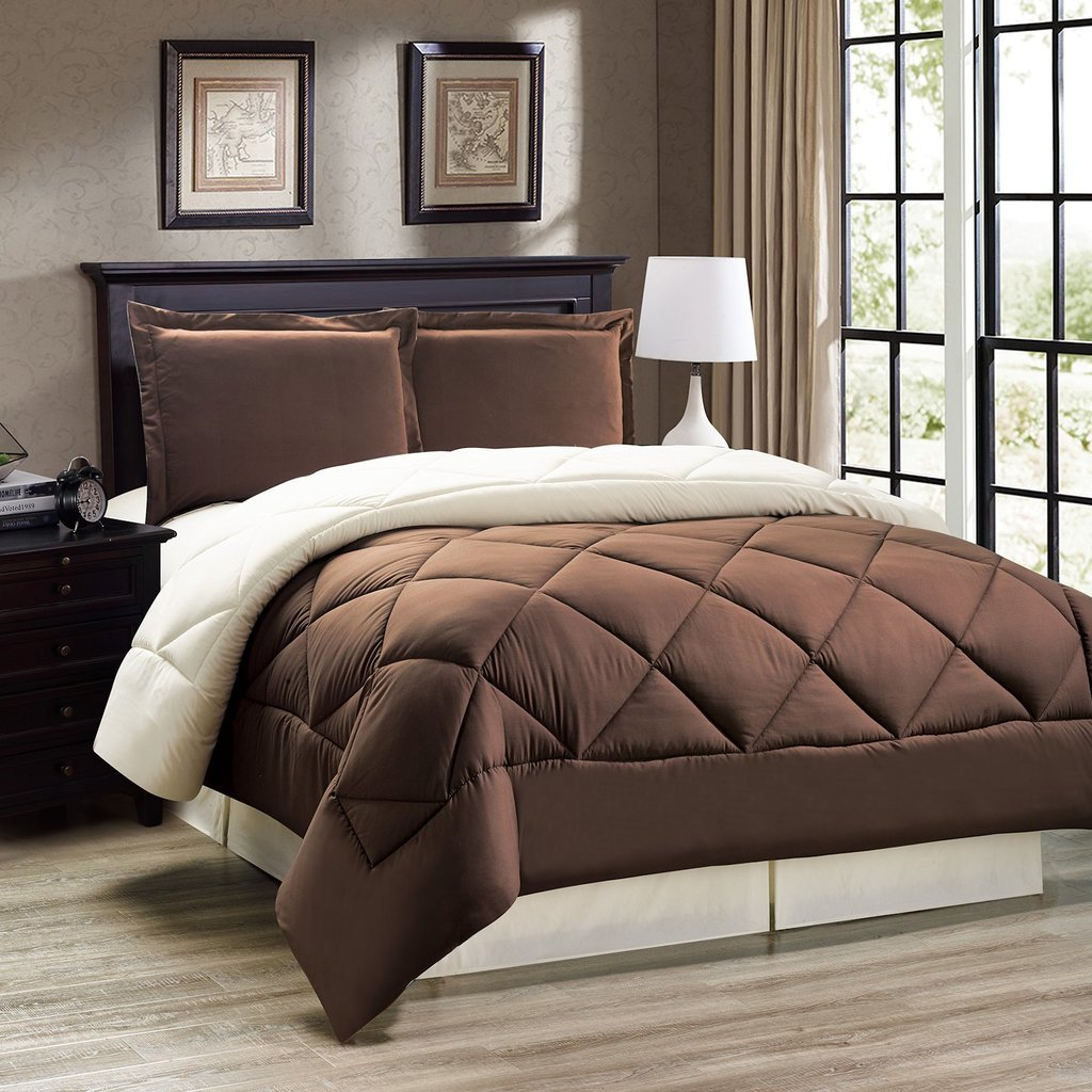 legacy decor 3pc down alternative reversible comforter set brown and cream fits full and