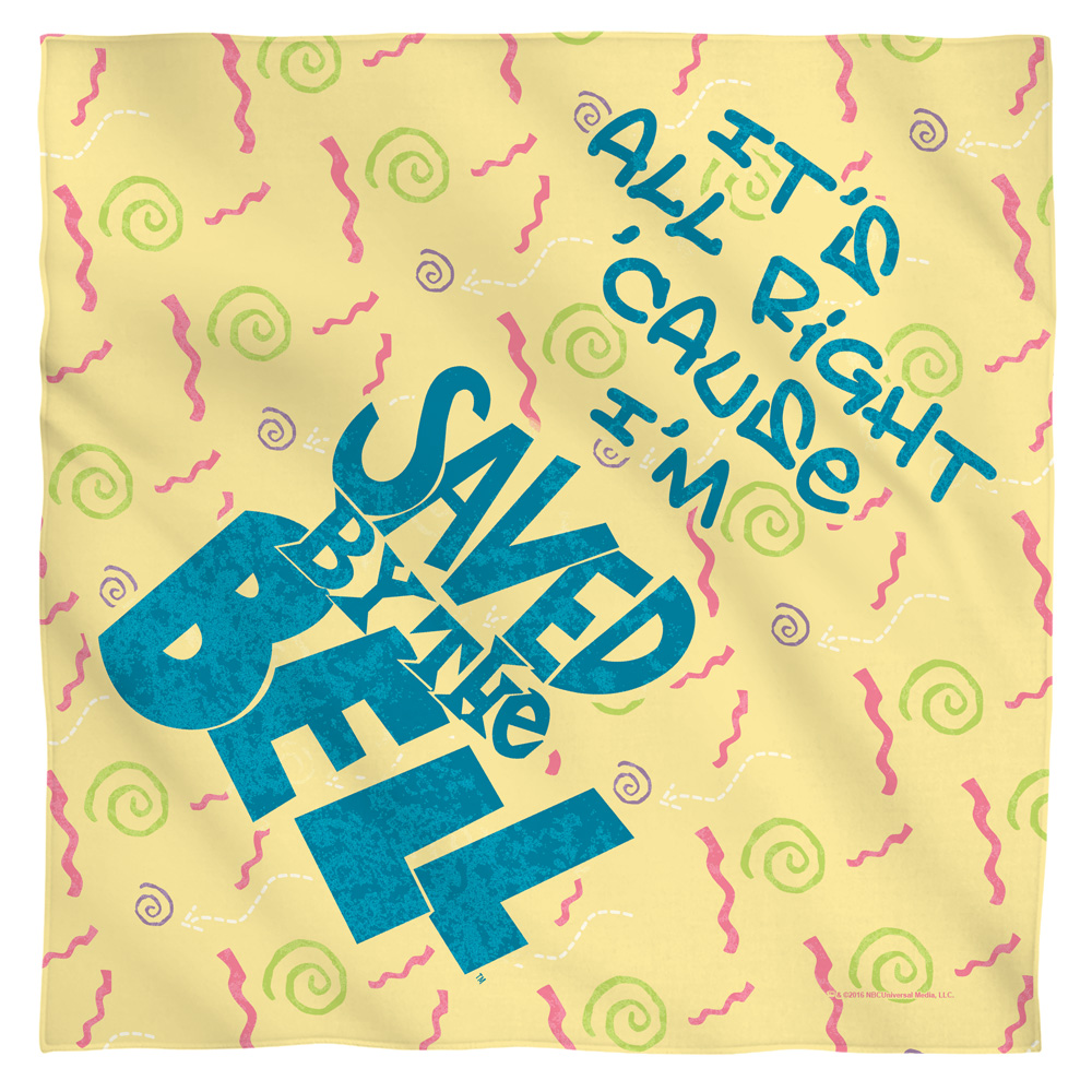 Saved By The Bell All Right Bandana  White One Size
