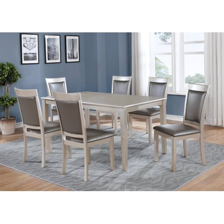 Roundhill Avignor 7-Piece Contemporary Dining Set with 6 Chairs