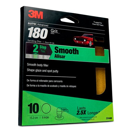 3M Sanding Discs with Stikit Attachment 10 Pack, 31448, 6 in, 180 grit, 10 packs per case (Disc Attachment)