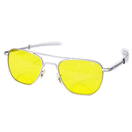 American Optical Original Pilot Bay 52 Matte Chr Yellow Polycarbonate Sunglasses