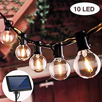 Image of Beacon Pet Solar OutdoorStringLights G40 Light with 10 LED Clear Bulbs & 4 Modes Shatterproof for Landscape Outdoor Patio Backyard Garden Cafe Shop Bistro (1.5W, 18Ft)