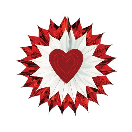 Club Pack of 12 White and Red Metallic Heart Fan-Burst Hanging Decorations 15