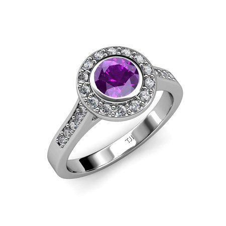 Amethyst and Diamond (VS2-SI1, F-G) Halo Engagement Ring 1.31 ct tw in Platinum.size 8.5 ()